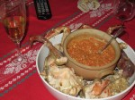 Declious crab dinner (with sauce made from all the bits left under the shell)
